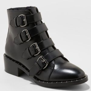 144673b6afe Black Faux Leather Studded Combat Booties